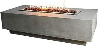 Elementi Granville Fire Table Cast Concrete Natural Gas Fire Table, Outdoor Fire Pit Fire Table/Patio Furniture, 45,000 BTU Auto-Ignition, Stainless Steel Burner, Lava Rock Included