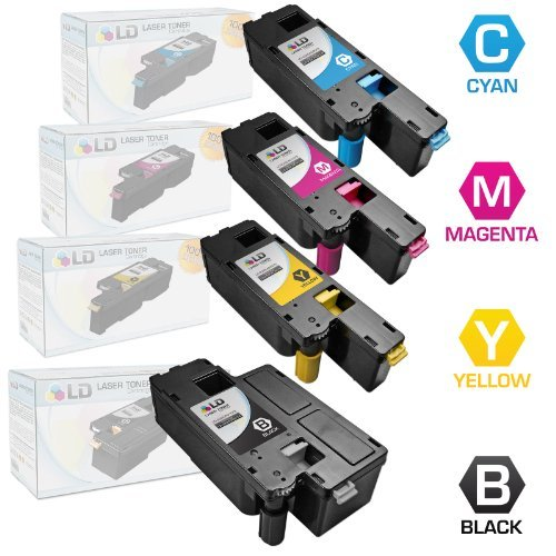 LD Compatible Toner Cartridge Replacement for Dell Color Laser C1660w (Black, Cyan, Magenta, Yellow, 4-Pack)