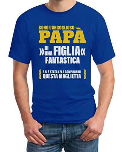 Sono L'orgoglioso papà di Una Figlia Fantastica - Regalo T-Shirt Maglietta Uomo Large Blu