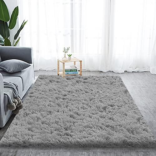 Alfombra de pelo largo para salón, suave área de rea, dormitorio, Shaggy, dormitorio, alfombra de cama, exterior, color gris, 230 x 300 cm