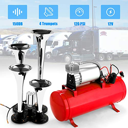 Angotrade 12V 150DB Car Air Horn Kit, 4 Trumpet Train Vehicle Air Horn with 120PSI Air Compressor for All Kinds of Vehicle, Truck, Car or SUV (Red)