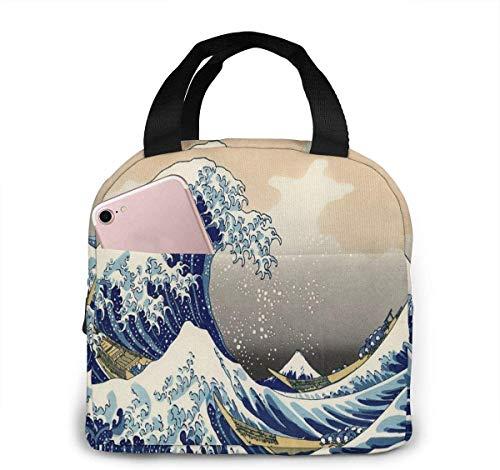 Bolsa de almuerzo con olas de mar de estilo japonés para mujeres, niñas, niños, bolsa de picnic con aislamiento térmico, bolso grande Bento para preparar comidas, bonita bolsa