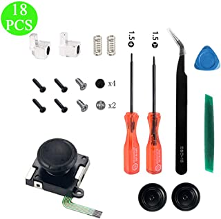 Onyehn 1-Pack 3D Replacement Joystick Analog Thumbstick for Switch Joy-Con Controller - Include Tri-Wing, Cross Screwdriver, Pry Tools, Lock Buckle,Spring and Screws Kit(18in1)
