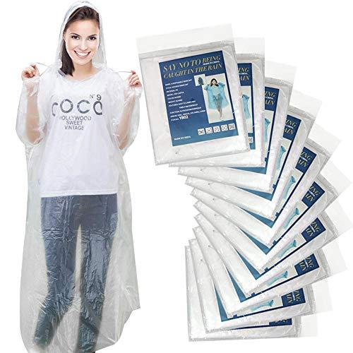 Einweg Regenponcho wasserfester Regenponchos für Erwachsene Einmal Regen Poncho 10 Stück