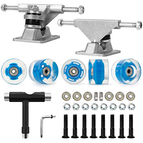 Nattork Skateboard Bearings,60mm Skateboard Wheels,Skateboard Trucks,Skateboard Screws, All-in-One Skate T-Tool,Skateboard Grip Tape Combo Set