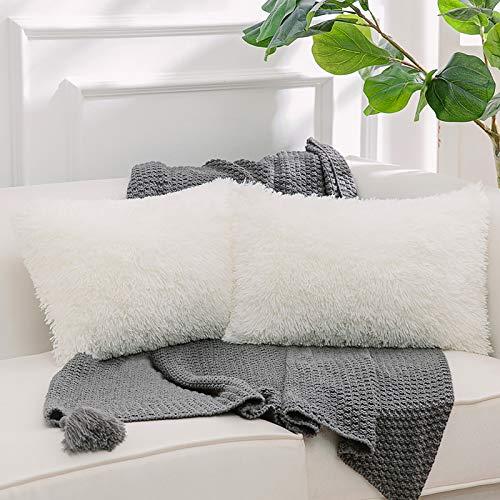 NordECO HOME Paquete de 2 Funda de Almohada de Piel sintética Fundas de Cojines Suaves Funda de Almohada Decorativa de Felpa para Sala de Estar Sofá Dormitorio Coche 30 x 50 cm Blanco