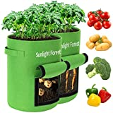 10 Gallon Grow Bags 2-Pack Sunlightforest Potato Grow Bags Thickened Non-Woven Aeration Fabric Pots with Handles and Window, Planter Pots for Tomato Veggies Flower (Green)