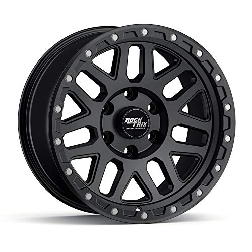 """RockTrix RT110 17 inch Wheel Compatible with 01-20 Toyota Tacoma 6x5.5"""" (6x139.7) Bolt Pattern, 17x9 (-12mm Offset), 106.1mm Bore, Matte Black, Also fits 02-20 4Runner, FJ Cruiser, 99-06 Tundra - 1pc"""