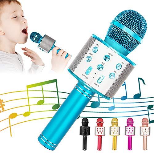 KIDWILL Wireless Bluetooth Karaoke Microphone for Kids, 5-in-1 Portable Handheld Karaoke Mic Speaker Player Recorder with Adjustable Remix FM Radio for Kids Girls Boys Teens Birthday (Blue)