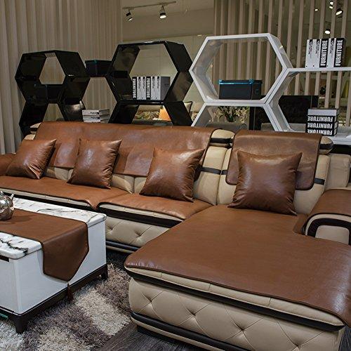 RICHLN Wasserdicht L-Form Sofa Slipcovers,pu Leder Anti Slip Schnittcouch-Abdeckung,nachhaltige Fleckenbeständig MÖbelschutz Braun 80x80cm(31x31inch)