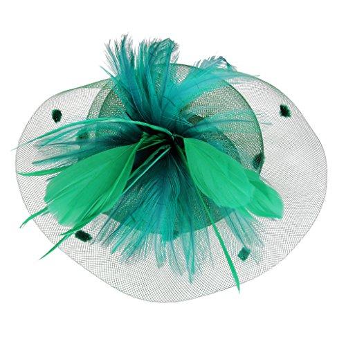 Mini Chapeau Haut Pince à Cheveux Plumes pour Mariage Fête Vert Foncé