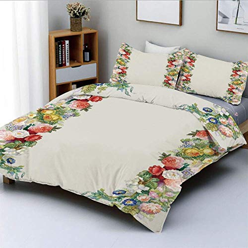 Duvet Cover Set,Rose Garland in Pastel Tones Jasmine Cornflower Bouquet Classic Bloom GraphicDecorative 3 Piece Bedding Set with 2 Pillow Sham,Red Yellow Green,Best Gift For Ki Easy Care Ant