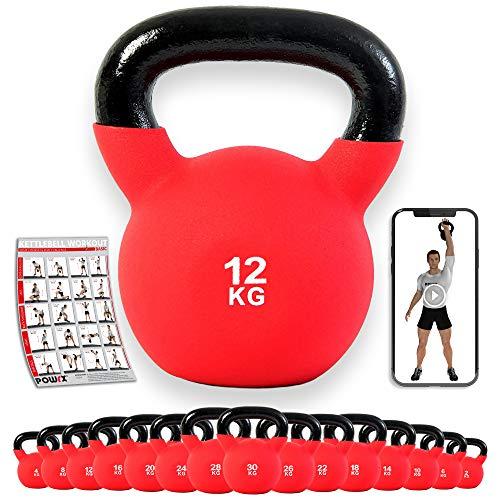 kettlebell 12kg POWRX Kettlebell ghisa 12 kg - Rivestimento in neoprene + PDF workout