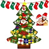 Smart Nice 45 Pcs Fieltro Árbol de Navidad,3.28ft DIY Fieltro Adornos Manualidades la Pared con 50 LED Luces de Navidad Ornamentos Desmontables Arbol de Fieltro con Gorro navideño para Niños