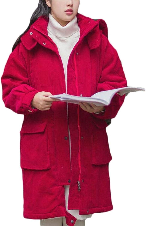 EKU Women's Winter Corduroy Jacket Thicken Hooded Zipper Padded Long Outwear