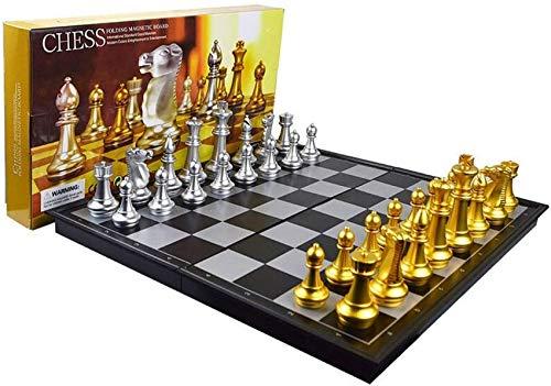 YZ-YUAN Juegos Casuales Accesorios para el hogar Ajedrez Juegos de ajedrez internacionales con Tablero de ajedrez Plegable magnético para niños Adultos Competencia Diversión (Color: Metálico Tamaño: