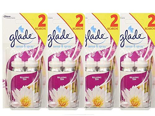 Glade Sense & Spray Doppia Ricarica - Fragranza Relaxing Zen, 4 Confezione da 2 ricariche di 18 ml