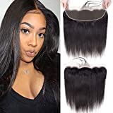 13x4 Ear to Ear Lace Frontal 100% Brazilian Virgin Straight Human Hair Frontal Free Part Lace Frontal Closure with Baby Hair Bleached Knots Natural Black 14 Inch