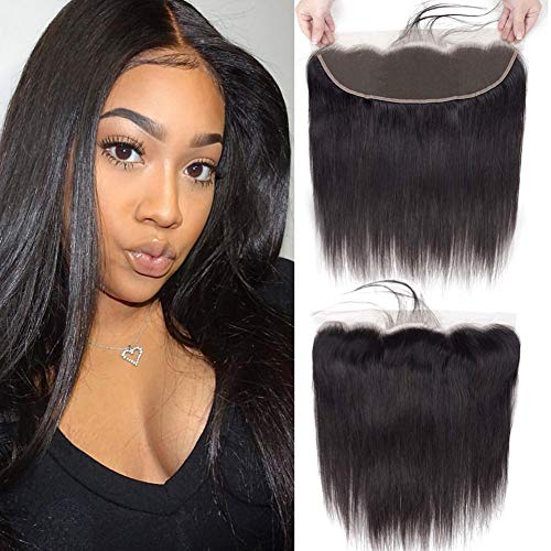 Lace Frontal Brazilian Straight Human Hair Frontal 13x4 Ear to Ear Lace Frontal Closure Free Part with Baby Hair 100% Human Hair Frontal Closures Natural Black 20 Inch