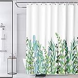 HQKNIGHT Duschvorhang,Duschvorhang Anti-schimmel Badezimmer Duschvorhänge mit 12 Haken, Duschvorhang Waschbar (180x180cm),Grüne Blätter Blumen Pflanzen