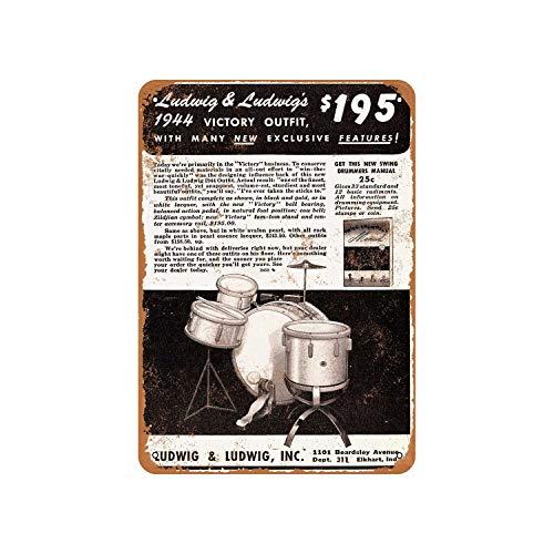 43LenaJon Cartel de metal rústico con aspecto vintage de Ludwig Drums de...