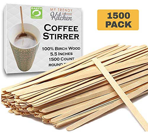 Wooden Coffee Stir Sticks (1500 Count) - Eco-Friendly, Biodegradable Splinter-Free Birch Wood - Disposable Drink Stirrers for Beverage, Tea, and Crafts with Round Ends