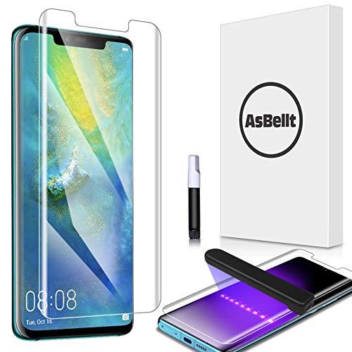 AsBellt Protector Pantalla de Huawei Mate 20 Pro (Pegamento en Toda la Pantalla) (9H Dureza) (Alta sensibilidad),Cristal Vidrio Templado / Protector de Pantalla para Huawei Mate20 Pro
