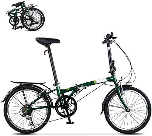 Bicicleta plegable de ciudad, mini bicicleta compacta, urbana, 20 pulgadas, 6 velocidades, color verde