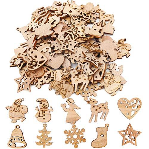 Kappha Colgante de árbol de Navidad 100 Piezas Mezcla de Madera Adornos para árboles de Navidad Mini Papá Noel Muñeco de Nieve Alces Copos de Nieve Colgante de árbol de Navidad