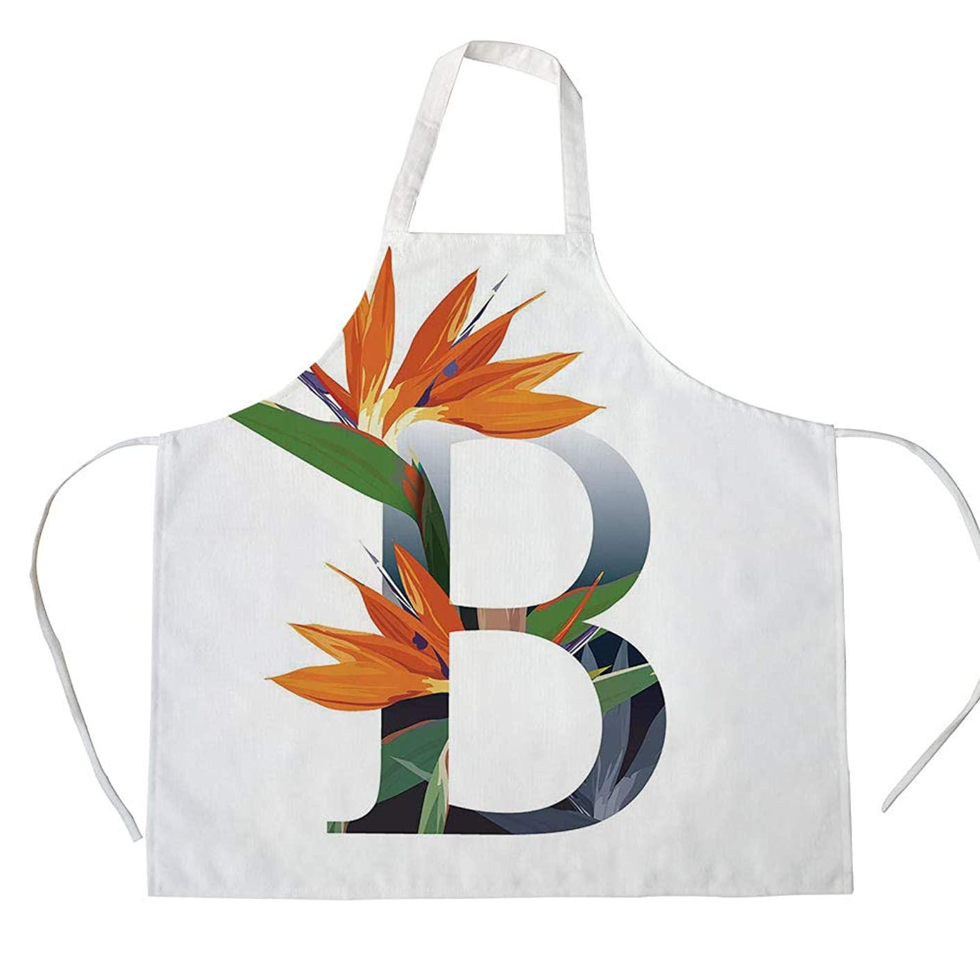 Letter B 3D Printed Cotton Linen Apron,Letter B with Bird of Paradise Flower Alphabet Character Font Design Print Decorative,for Cooking Baking Gardening,Orange Green Grey
