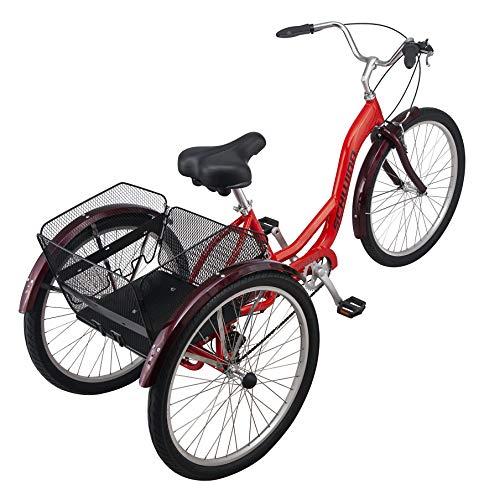Schwinn Meridian Adult Trike, Three Wheel Cruiser Bike, 7-Speed, 26-Inch Wheels, Cargo Basket, Red, Model: S4071AZA