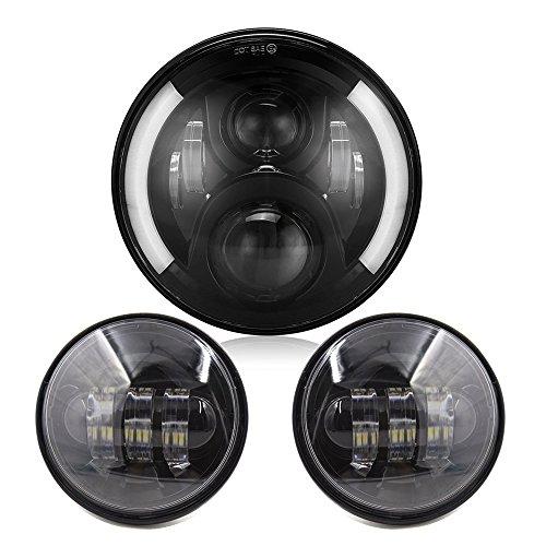 Osram Phare LED 60 W de 7 pouces avec les yeux d'ange blanc/ambre + 2 phares antibrouillard 30 W de couleur chrome de 4,5 pouces pour Harley Davidson