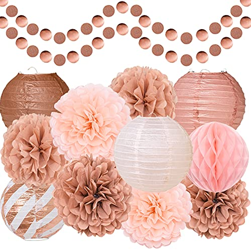 Rose Gold Party Decorations, Tissue Pom Poms, Paper Lanterns, Honeycomb Ball, Paper Circle Dots Garlands, 13 Pcs Hanging Party Supply Set for Wedding Bridal Shower Baby Shower Birthday - Rose Gold