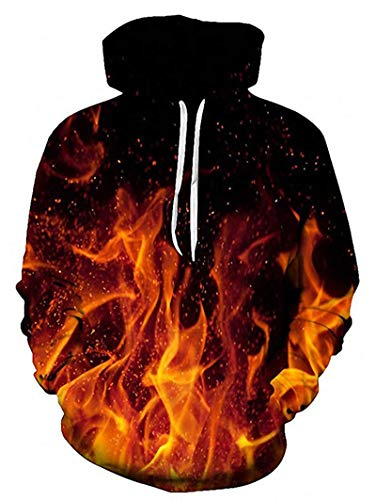 RAISEVERN Unisex Cool Hoodie Funny Drawstring Fire Pullover Sweatshirts 3D Colorful Flame Print Long Sleeve Shirts Lightweight Black Hooded with Pockets for Men Women