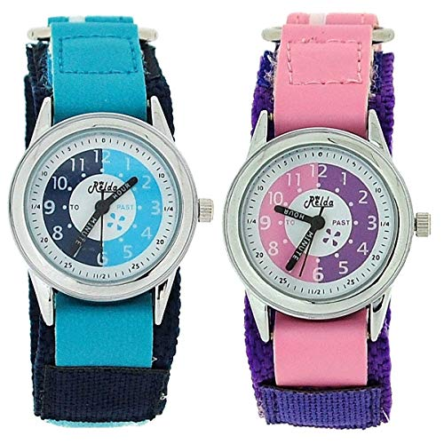 2 X Relda Time Teacher Blue/Pink Easy Fasten Girl Kids Watch Gift Set + Award