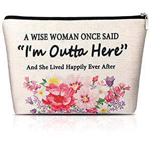 "Quote design: this retirement makeup bag is printed with an interesting proverb: A Wise Woman once said ""I am outta here"" and she lived happily ever after; Meaningful word art makes it a nice gift for women retirees Suitable size: each retirement cos..."