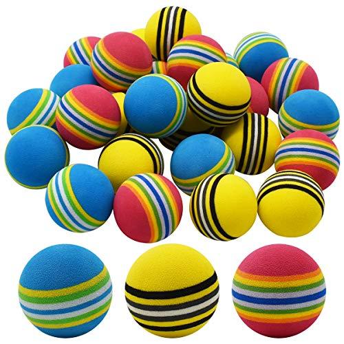 Qixuer 30 Unidades Práctica Pelotas de Golf,Esponja Pelotas de Golf Bolas de Golf de Práctica Bolas de Espuma de Colores Suaves de Golf con 2 Pernos de Bola para Principiantes Niños y Aficionados