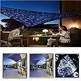 CHUDAN Auvent de Jardin avec lumières LED, Écran Solaire 2x3m Balcon et terrasse, Pare-Brise en Polyester PES imprégné de 95% de Protection UV (Bleu),2 * 3m