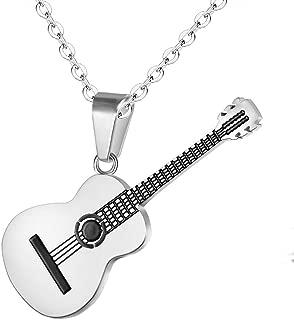 LK /_ Hommes Acier Inoxydable Guitare forme note musicale collier bijoux Hot