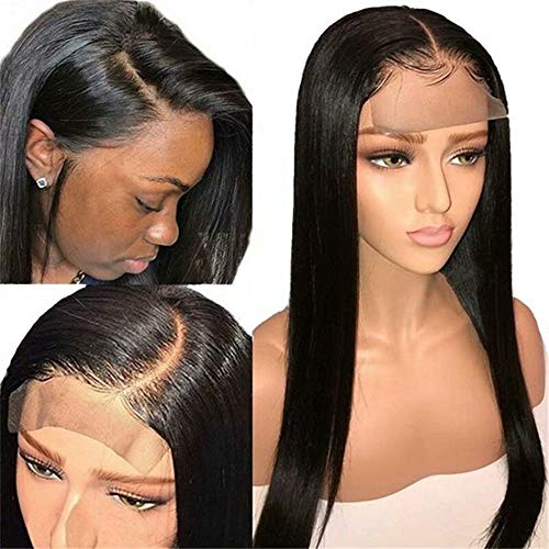 Maxine 10A 100% Unprocessed Virgin Hair 4x4 Closure Wig Brazilian Remy Human Hair Straight Hair Lace Wigs with Baby Hair For African Americans 150% Density Natural Color 20inch