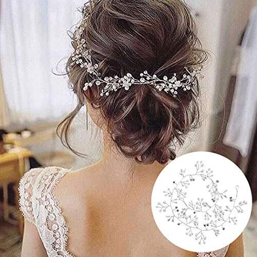 50cm Haarschmuck Hochzeit,Kopfschmuck Hochzeit Haardraht Haarschmuck Braut Perlen Strass Silber Blumen Haarband,Brautschmuck Haarreif Hochzeit Vintage Stirnband...