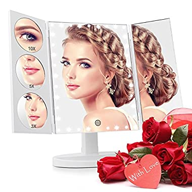 Easehold 35 LED Lighted Vanity Makeup Mirror Tri-Fold with 3 X 5X 10X Magnifiers 360 Degree Free Rotation Countertop Bathroom Cosmetic