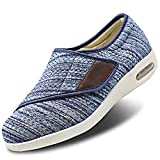 Womens Stylish Diabetic Shoes Extra Wide Widths Walking Edema Sneakers Adjustable Strap Easy On/Off with 3 Pairs Insoles Replacement for Support Swollen Feet Light Blue