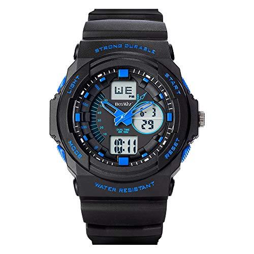 Herren Sport Digital Uhren - 50 m Wasserdicht Sport Armbanduhr mit Wecker Stoppuhr, Schwarz Big Face Armbanduhr, läuft mit LED-Hintergrundbeleuchtung Digitaluhren für Männer von RSVOM