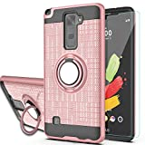 Ymhxcy for LG Stylo 2/Stylus 2/Stylo 2V/Stylo 2 Plus/Stylus 2 Plus case with HD Phone Screen Protector,360 Degree Rotating Ring & Bracket Dual Layer Resistant Back Cover for LG LS775-ZH Rose Gold