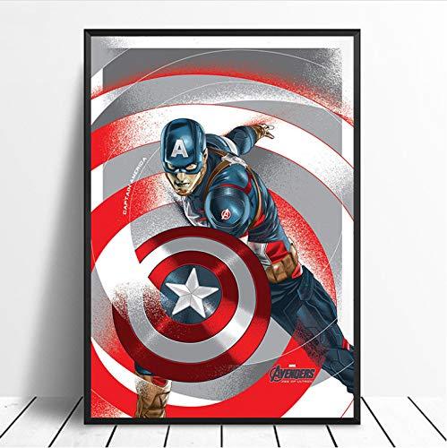 Hao Sai's shop Captain America Avengers Superhero Poster Wall Art Movie Poster Decorazioni per La Casa Pittura Decorazioni per La Casa Stampa su Tela Vivente No Frame A1 40X50Cm Senza Cornice