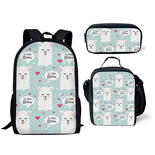 Cartoon Heart Llama Puzzle Teen Girls Backpack School Bookbag Lunch Bag Pencil Bag 3 Pieces Set