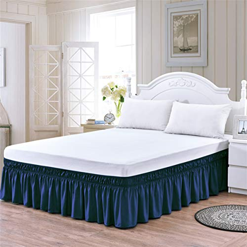TSUTOMI Blue Bed Skirt Queen Size King Bed Skirt Ruffled Bed Skirts,Blue,16 Inch Drop