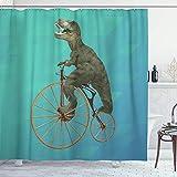 ZORMIEY Duschvorhang,Personalisiertes Dinosaurier-Fahrrad,Vorhang Waschbar Langhaltig Hochwertig Bad Vorhang Polyester Stoff Wasserdichtes Design,mit Haken 180x180cm