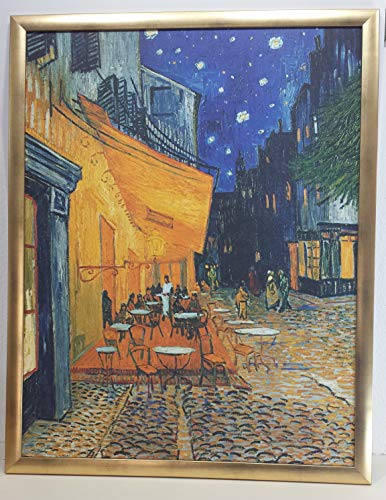 Art-Galerie - Bild mit Rahmen, Vincent Van Gogh, Cafe de Nuit, Holz Gold, Folie strukturiert - 70x90cm